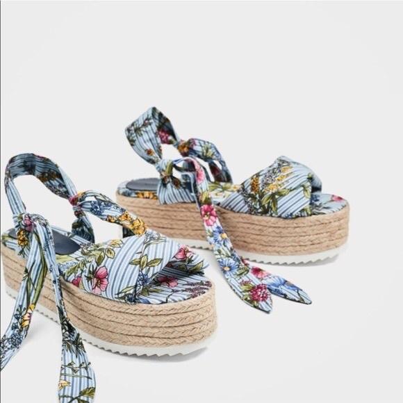 Zara Tied Floral Rafia Platform Wedges Size 39